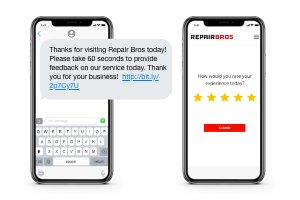 An iPhone showing a text message from a repair shop and another iPhone displaying a customer feedback screen
