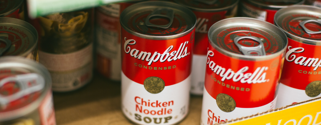Donated soup cans
