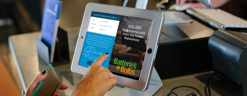 Customer using tablet based point of sale software